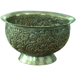Vintage Decor Item : Engraved  Metallic Bowl