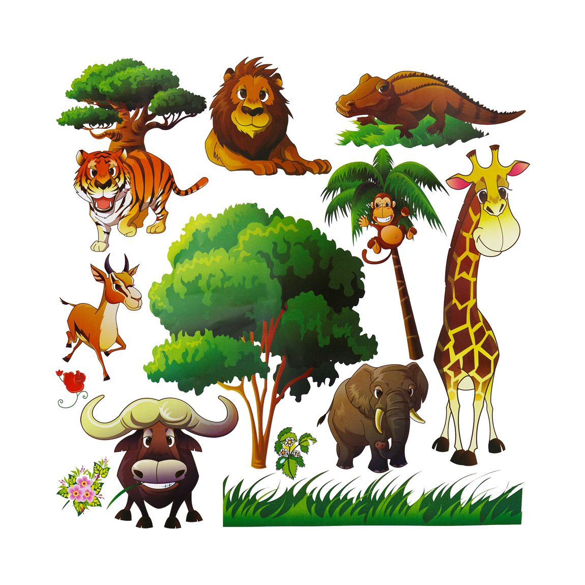 Animal wall decals for kids room decor dekosh for Animal wall mural