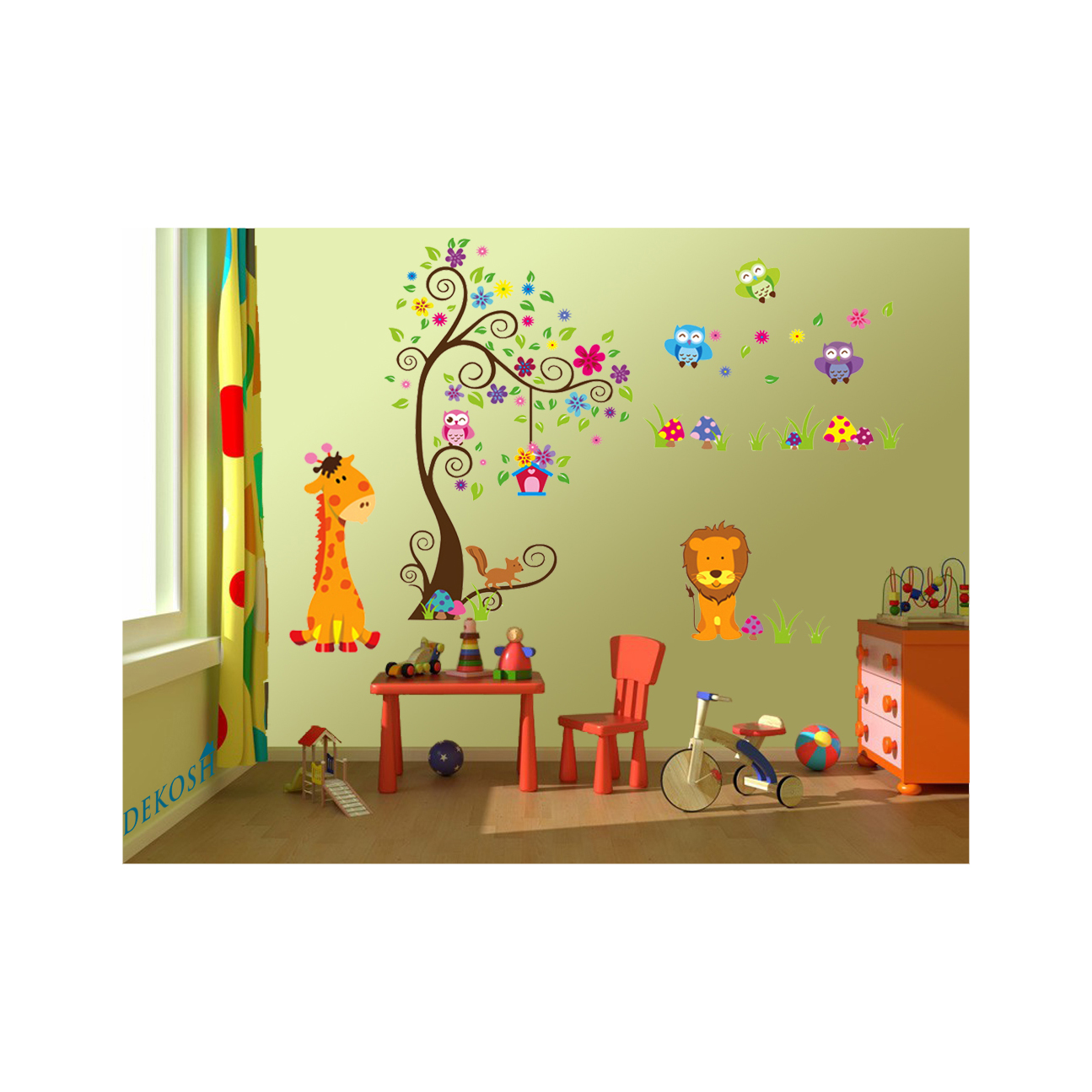 Colorful jungle theme peel stick wall decal for kids for Kids room wall decor